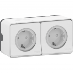 Mureva Styl - double power socket-outlet with sideE - 16A 250V - 2P + E with shutters - white
