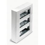Surface mounting box, Horizontal 3 rows, Ivory