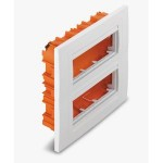Flush mounting box, Horizontal 2 rows, Ivory