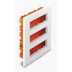 Flush mounting box, Horizontal 3 rows, Ivory