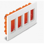 Flush mounting box, Vertical 4 columns, White