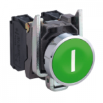 "Flush Pushbutton 1 N/O, White ""I"", Green"