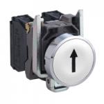 "Flush Pushbutton 1 N/O, Black ""↑"", White"