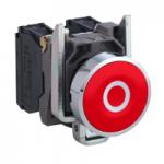 "Flush Pushbutton 1 N/C, White ""O"", Red"