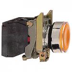 Flush Illuminated Pushbutton 1 N/O + 1 N/C, Protected LED, Unmarked, Orange