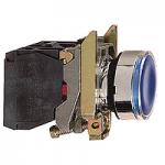 Flush Illuminated Pushbutton 1 N/O + 1 N/C, Protected LED, Unmarked, Blue
