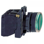 Flush Illuminated pushbutton 1 N/O + 1 N/C, Integral LED 230-240 V AC/DC, Green