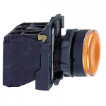 Flush Illuminated pushbutton 1 N/O + 1 N/C, BA 9s ≤250 V, Orange