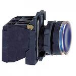 Flush Illuminated pushbutton 1 N/O + 1 N/C, Integral LED 110-120 V AC, Blue