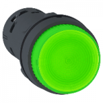 Monolithic illuminated projecting pushbutton 1 N/O, Integral LED, Green