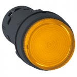 Monolithic illuminated projecting pushbutton 1 N/O, Integral LED, Orange