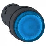 Monolithic illuminated projecting pushbutton 1 N/O, BA 9s, Blue