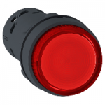 Monolithic illuminated projecting pushbutton 1 N/O, Integral LED, Red