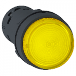 Monolithic illuminated projecting pushbutton 1 N/O, Integral LED, Yellow