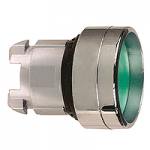 Green Recessed pushbutton head, Spring return, Unmarked