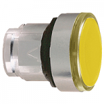 Yellow Flush with transparent cap for insertion of legend pushbutton head, Spring return, Unmarked