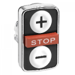 "Black 2 Flush/1 Projecting triple-headed pushbutton, White ""+"", White ""-"", Red ""STOP"""