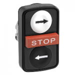 "Black 2 Flush/1 Projecting triple-headed pushbutton, Black ""→"", White ""←"", Red ""STOP"""