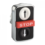 "Black 2 Flush/1 Projecting triple-headed pushbutton, Black ""↑"", White ""↓"", Red ""STOP"""