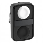 Black 2 Flush double-headed pushbutton, White Unmarked/Black Unmarked