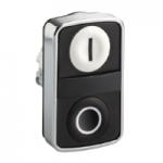 """Black 2 Flush double-headed pushbutton, White """"I"""", Black """"O"""""""