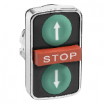 "Black 2 Flush/1 Projecting triple-headed pushbutton, White ""↑"", White ""↓"", Red ""STOP"""