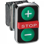 "Black 2 Flush/1 Projecting triple-headed pushbutton, Green ""+"", Green ""-"", Red ""STOP"""