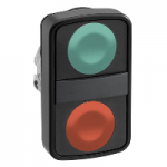 Black 2 Flush double-headed pushbutton, Green Unmarked/Red Unmarked