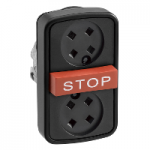 "Black 2 Flush/1 Projecting triple-headed pushbutton, Black without caps, Red ""STOP"""