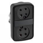 Black 2 Flush double-headed pushbutton, Black without caps