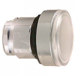 White Flush head for pushbutton, Push-push with Integral LED