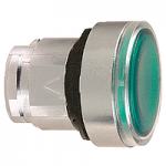 Green Flush head for pushbutton, Push-push with Integral LED