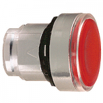 Red Flush head for pushbutton, Push-push with Integral LED