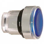 Blue Flush head for pushbutton, Push-push with Integral LED