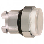White Projecting head for pushbutton, Push-push with Integral LED