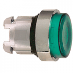 Green Projecting head for pushbutton, Push-push with Integral LED