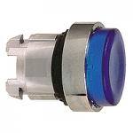 Blue Projecting head for pushbutton, Push-push with Integral LED