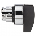 Black Selector switch head, Spring return right to left, Long handle 2 positions 90°