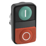 "Double-head for pushbutton, Green ""I"", Red ""O"", black metal"