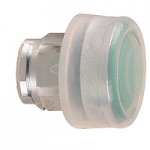 Green Projecting head for pushbutton, with Clear boot, not compatible with legend holder, sold by 100