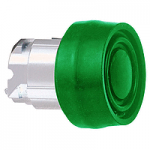 Green Flush head for pushbutton, with Coloured boot, compatible with legend holder