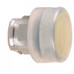 Yellow Flush head for pushbutton, with Clear boot, not compatible with legend holder