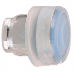 Blue Flush head for pushbutton, with Clear boot, not compatible with legend holder