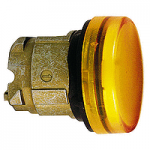 Yellow pilot light with plain lens, for insertion of legend Integral LED