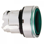 Green head for pushbutton, Flush, for Integral LED with plain lens