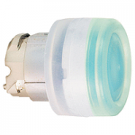 Green head for pushbutton, Flush, for Integral LED with Clear boot, not compatible with legend holder