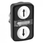 "Double-headed pushbutton 2 Flush/1 Central Pilot light, White ""↑"", White ""↓"""