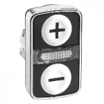 "Double-headed pushbutton 2 Flush/1 Central Pilot light, White ""+"", White ""-"""