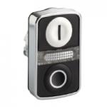 """Double-headed pushbutton 2 Flush/1 Central Pilot light, White """"I"""", Black """"O"""""""