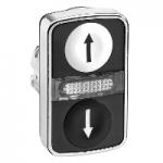 "Double-headed pushbutton 2 Flush/1 Central Pilot light, White ""↑"", Black ""↓"""